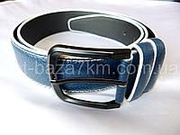 Мужской ремень синий/белый с прошивкой 4 см — купить оптом в одессе 7км