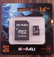 Карта памяти MicroSD 16Gb HI-RALI 10 Класс, SD карта на 16ГБ