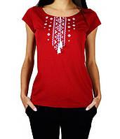 Футболка-вышиванка Орнамент красно-белый женская (Патриотические футболки)