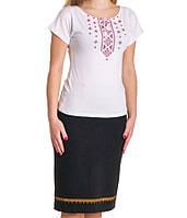 Футболка-вышиванка Орнамент красно-черная женская (Патриотические футболки)