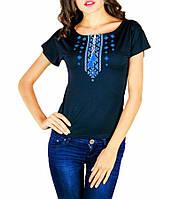 Футболка-вышиванка Орнамент синяя женская (Патриотические футболки)