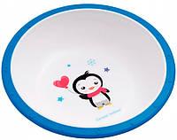 Тарелка-миска пластиковая с нескользящим дном Пингвин, с синим ободком, Canpol babies