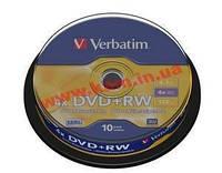 Диск VERBATIM DVD+RW 4,7Gb 4x Cake 10 pcs Silver (43488)