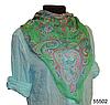 Легкий зеленый женский шелковый платок