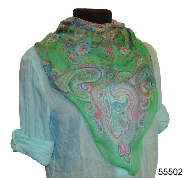 Купить легкий зеленый женский шелковый платок 1