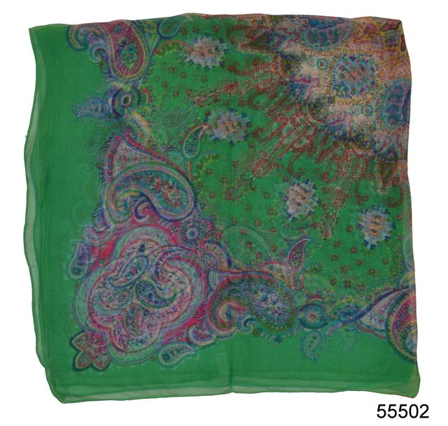 Купить легкий зеленый женский шелковый платок 2