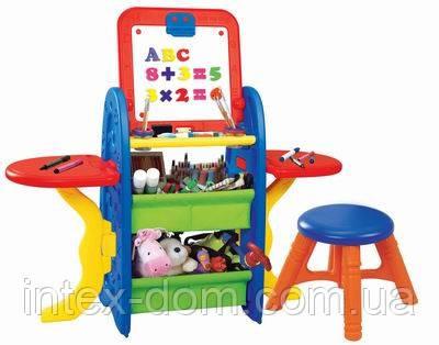 Детский мольберт XFG-901 (доска для рисования+магнитная азбука) напольная со стульчиком киев