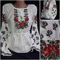 """Нарядная блуза с вышивкой """"Роксолана"""", натуральный выбел. лен, 42-60 р-ры, 850\720 (цена за 1 шт. + 130 гр.)"""