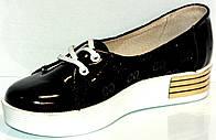 Туфли чёрные детские женские из натуральной кожи с кожаной подкладкой с супинатором на платформе