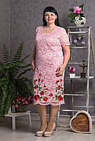 Гипюровое розовое плятье с вышивкой Батал