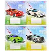 Тетрадь цветная 12 листов,косая линия «Спортивные машины»
