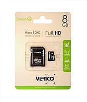 Карта памяти Verico microSDHC 8 GB class 4 (+SD адаптер)