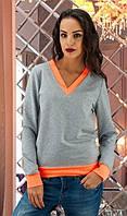 Серый свитшот с оранжевыми манжетами