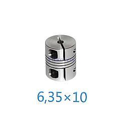 Гибкая сильфоновая муфта для шагового двигателя 6,35х10 С (L30, D25), фото 2