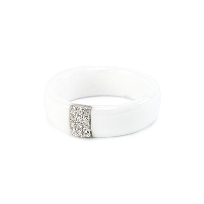 Кольцо керамическое с 6 фианитами белое Арт. RN025CR (19)