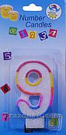 """Свечи-цифры для торта """"Цифра 9"""" полосатые, фото 1"""