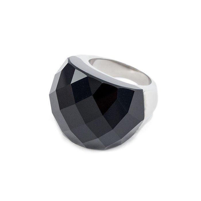 Кольцо крупное с черным граненым камнем Арт. RN058SL (19)