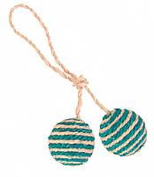 Мячики Trixie 2 Balls on a Rope для кошек сизалевые, 4.5 см