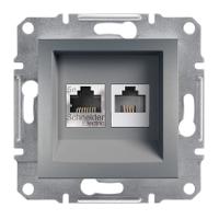 Розетка компьютерная + телефонная сталь ASFORA Schneider Electric EPH4900162