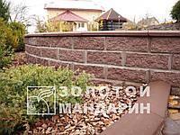 Блок заборный 300х200х100 «Золотой мандарин» двухсторонний скол, коричневый, фото 1
