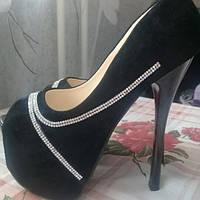 Женские туфли на высоком каблуке шпилька с камнями, фото 1