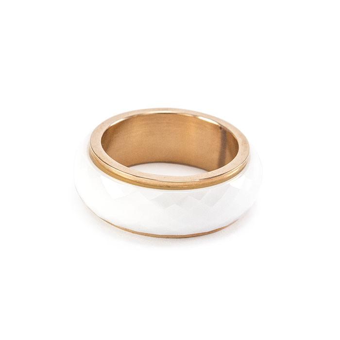 Кольцо керамическое со стальной основой белое Арт. RN030CR (19)