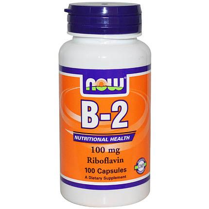 B-2 100 mg NOW Foods 100 Caps, фото 2