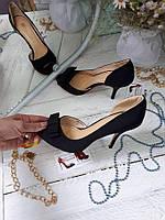 Туфли летние с боковым вырезом и открытый носок с бантом