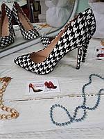 """Черные туфли лодочки """"шахматы"""" гусиные лапки"""