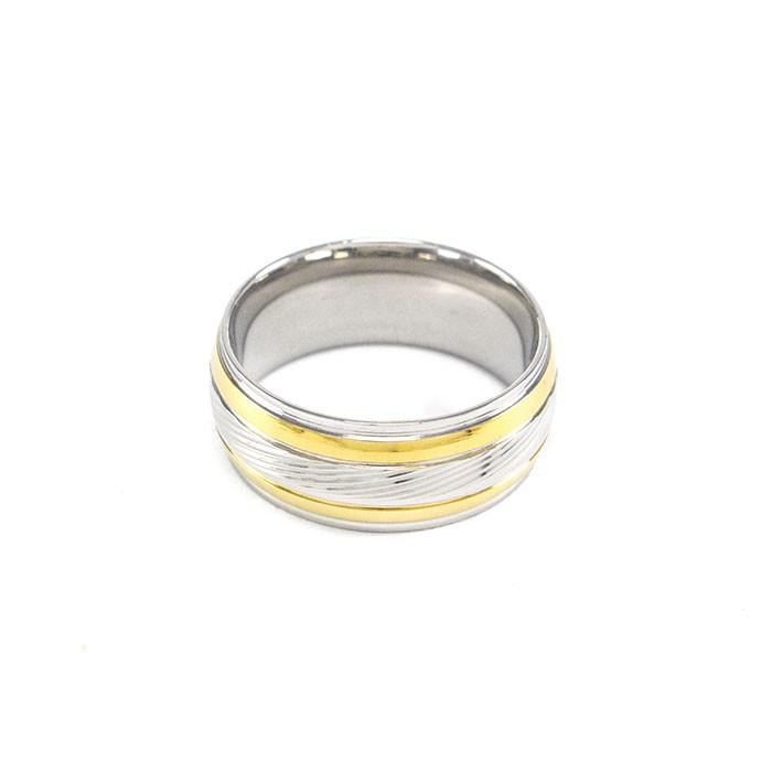 Кольцо серебристое с двумя золотистыми полосами Арт. RN088SL (21)