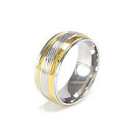 Кольцо серебристое с двумя золотистыми полосами Арт. RN088SL (21), фото 2