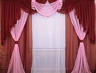 Ламбрекен и двойные шторы на 3 м карниз бардового цвета
