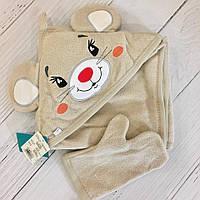 Уголок для купания бежевого цвета с вышивкой мышки, в наборе с рукавичкой