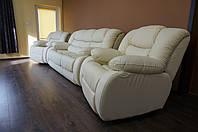 Кожаная мебель Эшли с реклайнером, кресло релакс, диван
