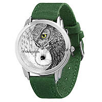 Наручные часы AndyWatch Совы инь-янь green