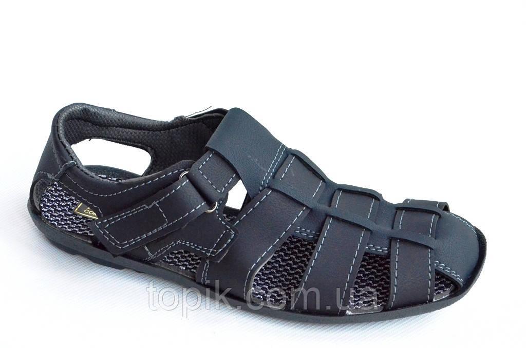 Босоножки сандалии мужские удобные практичные Львов темно синие (Код: 808). Только 43р!