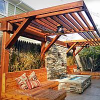 Навесной козырек из дерева для зоны отдыха для защиты от солнца 35
