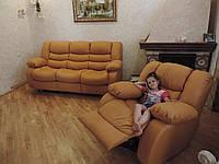 Кожаный раскладной диван с реклайнером, кресло релакс, диван Эшли