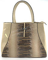 Оригинальная стильная качественная сумка с лицевой вставкой под рептилию SOFIYA art. SF-883 бежевая (100807)