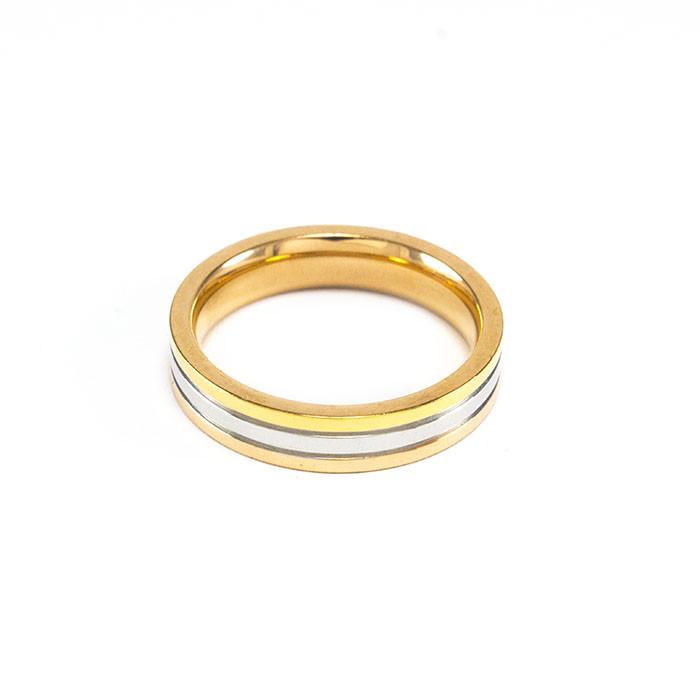Кольцо золотистое с серебристой полосой Арт. RN090SL (19)