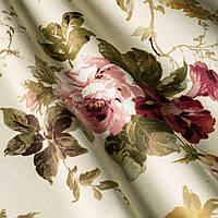 """Ткань """"Анабель"""" пастельные крупные цветы на песочном фоне для штор и обивки мебели"""