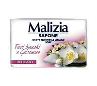 Мыло туалетное твердое жасмин и цветы Malizia White flower & jasmine 90г