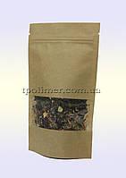 Пакеты Дой-пак 130х200 мм для кофе, чая (Крафт+окно)