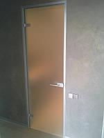 Стеклянные двери с алюминиевым профилем