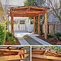 Деревянный навес для автомобиля для дачи и загородного дома 38