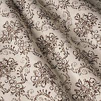 """Ткань """"Модильяни"""" с коричневым узором для штор и покрывал"""