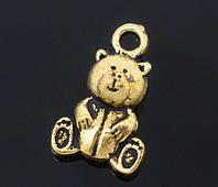 """Подвеска """" Мишка Тедди """", 16mm x 10mm, Античное Золото"""
