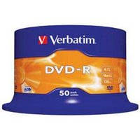 Диск DVD-R Verbatim 4.7Gb 16X CakeBox 50шт (43548)