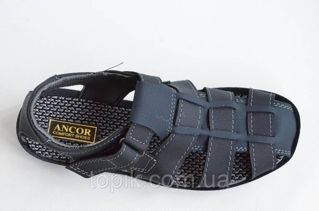 Босоножки сандалии мужские удобные практичные Львов темно синие (Код: 808а). Только 43р!