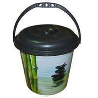 Ведро с крышкой, с деколью бамбук, 18л, 37,5х34см Elif plastik  359-4LF